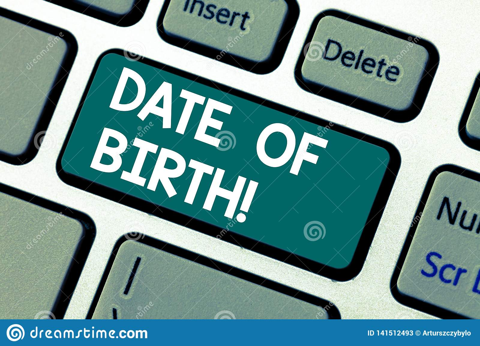 word writing text date of birth business concept for day