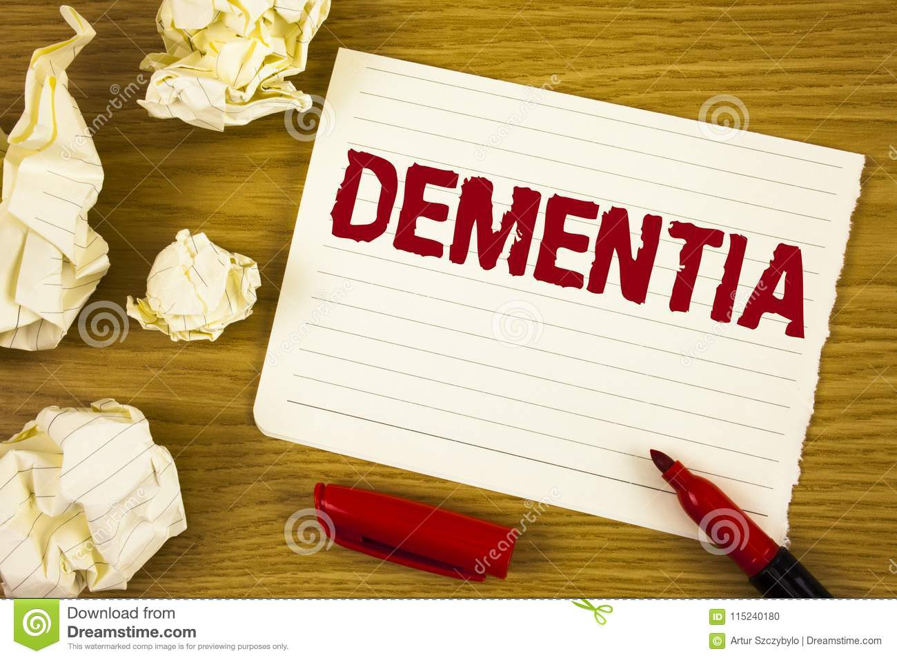 Word writing text Dementia. Business concept for Long term memory loss sign and symptoms made me retire sooner written on Tear Not