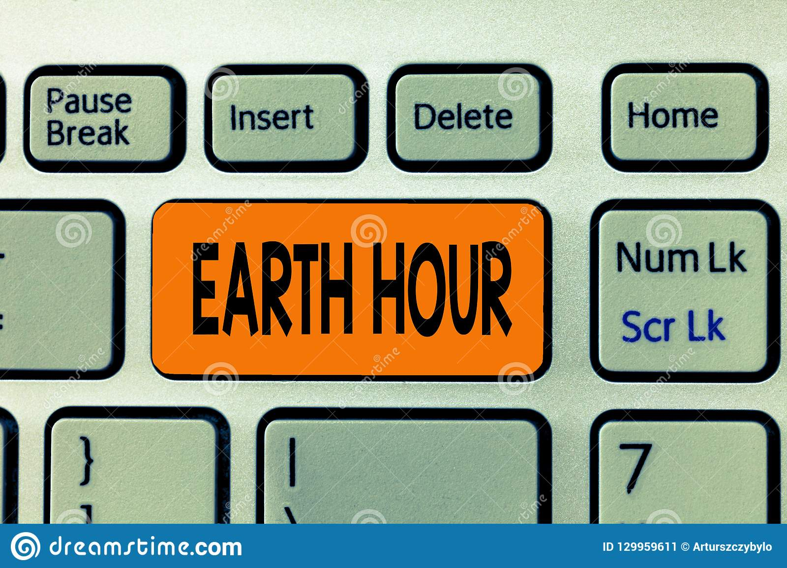 Word writing text Earth Hour. Business concept for Global movement to call for greater action on climate change