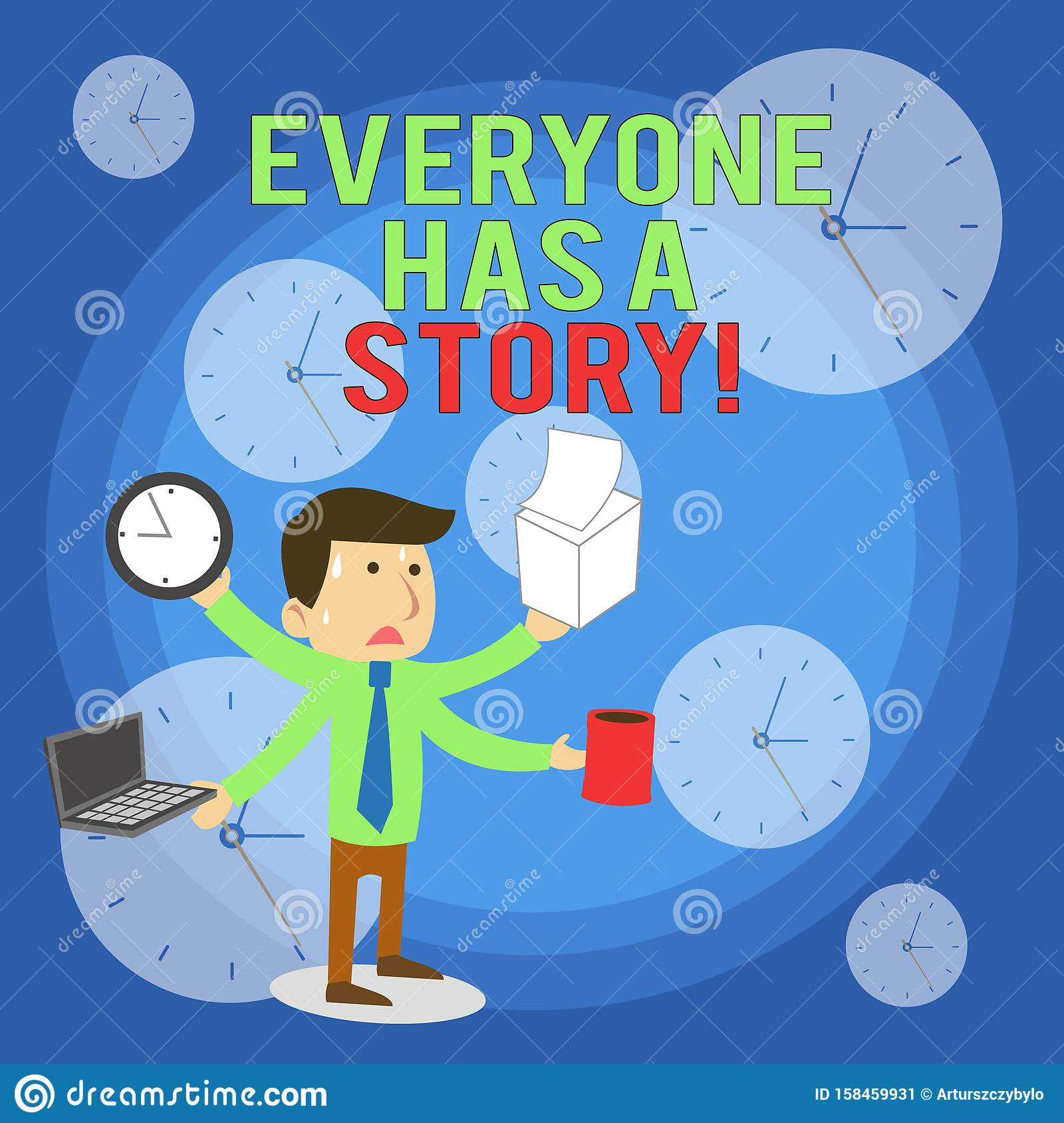 Word writing text Everyone Has A Story. Business concept for account of past events in someones life or career Stressed