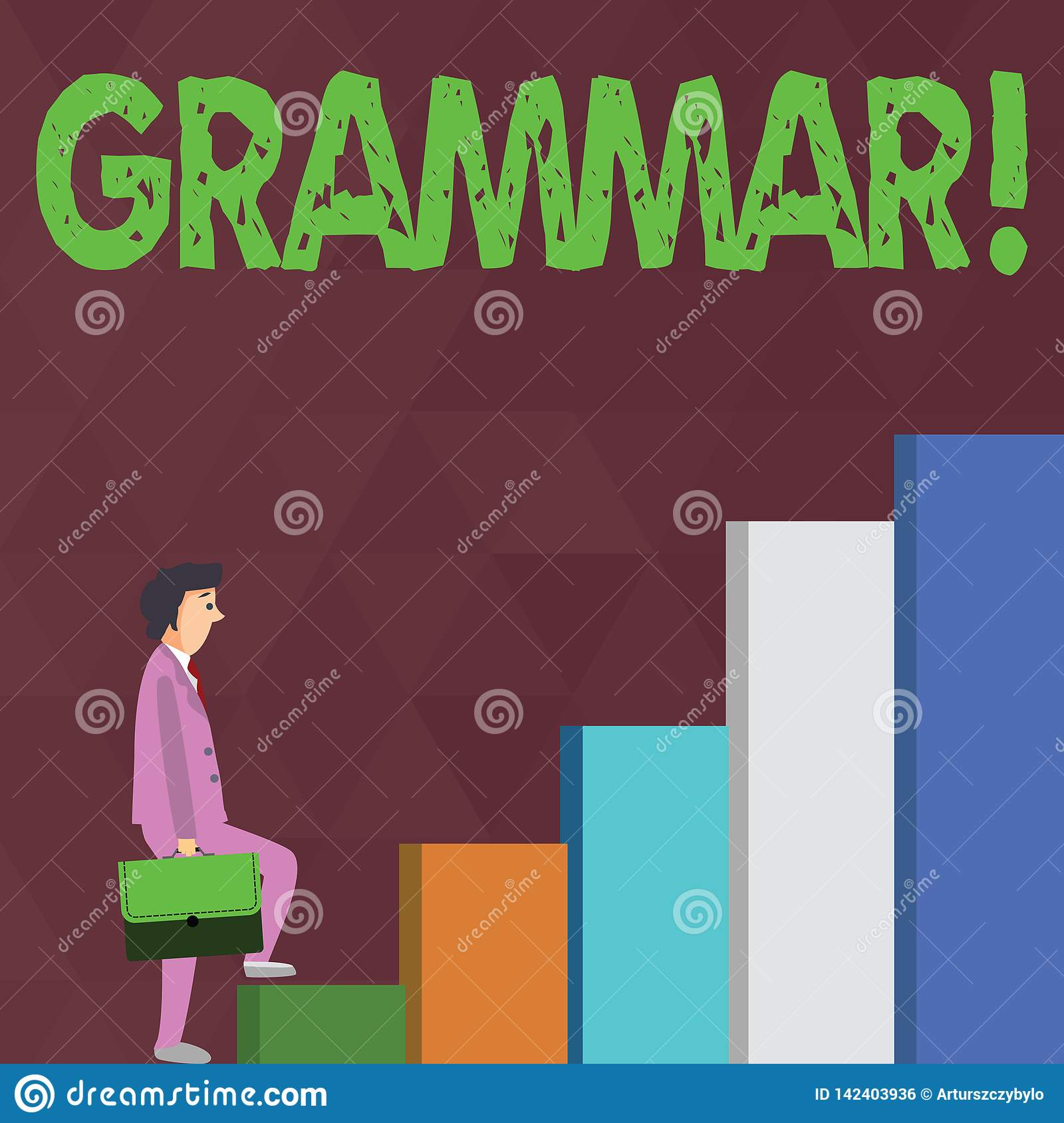 Word writing text Grammar. Business concept for System and Structure of a Language Writing Rules Businessman Carrying a