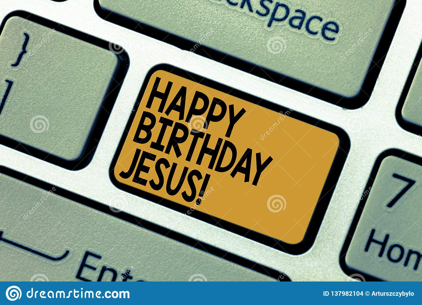 Word Writing Text Happy Birthday Jesus Business Concept For Celebrating The Birth Of The Holy God Christmas Day Stock Photo Image Of Decoration Birthday 137982104