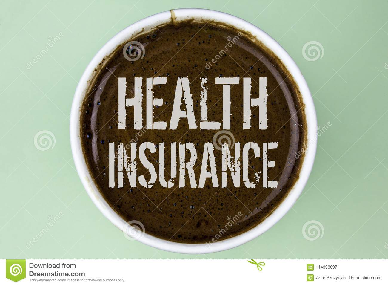Word writing text Health Insurance. Business concept for Health insurance information coverage healthcare provider written on Coff