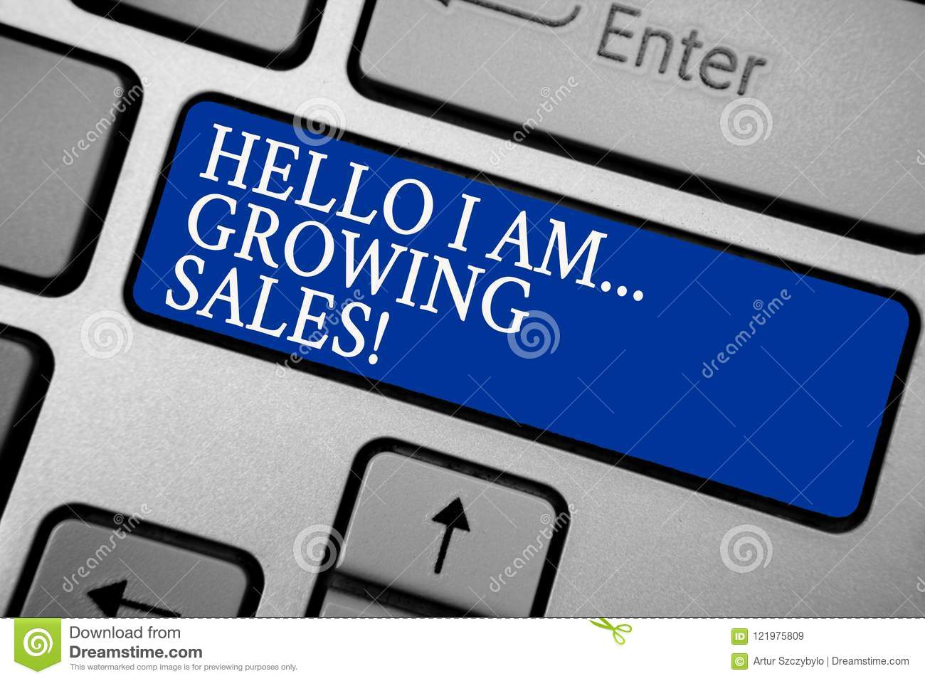 Word writing text Hello I Am... Growing Sales. Business concept for Making more money Selling larger quantities Grey silvery keybo