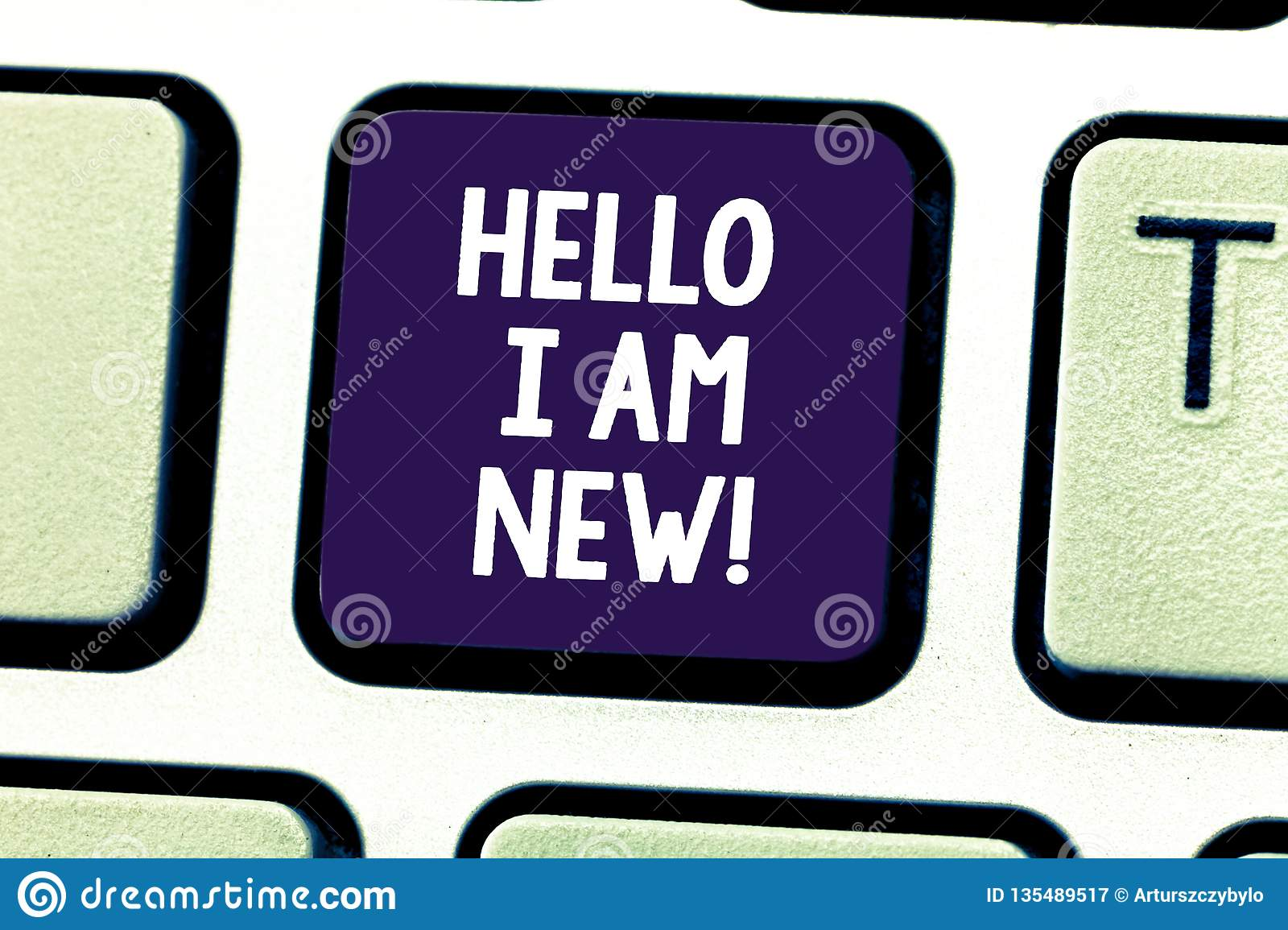 Word writing text Hello I Am New. Business concept for Introducing yourself to unknown showing newbie in the team
