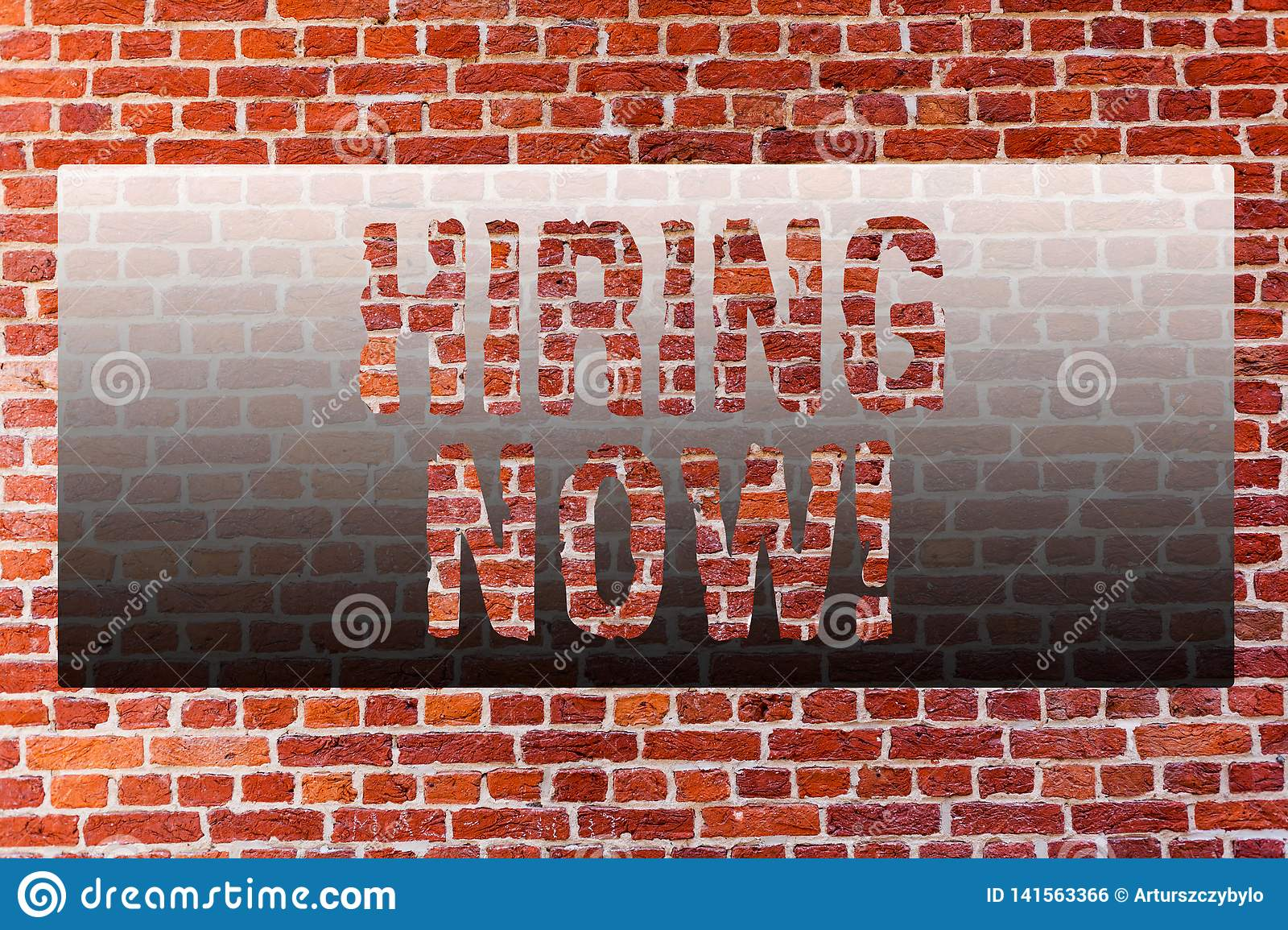 Word writing text Hiring Now. Business concept for Workforce Wanted Employees Recruitment Brick Wall art like Graffiti