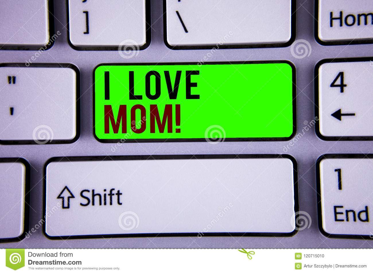 Word writing text I Love Mom Motivational Call. Business concept for Good feelings for their own mother Tenderness