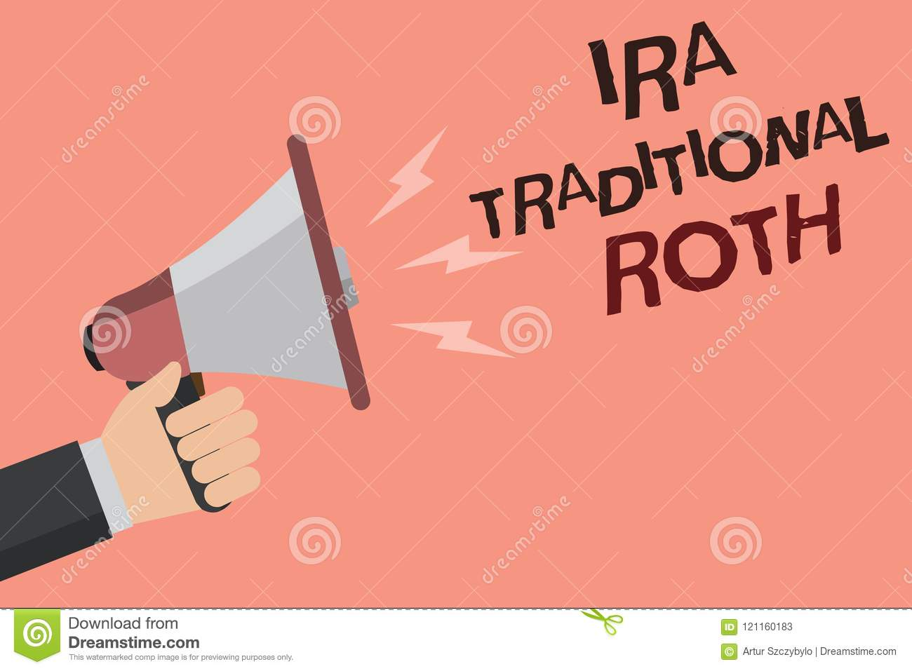 Word Writing Text Ira Traditional Roth. Business Concept ...