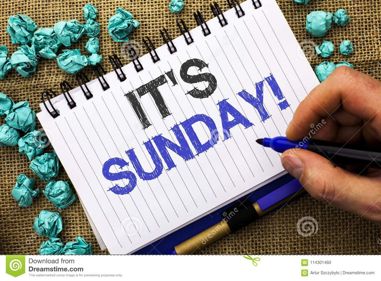 Word writing text Its Sunday Call. Business concept for Relax Enjoy Holiday Weekend Vacation Rest Day Free Relaxing written by M