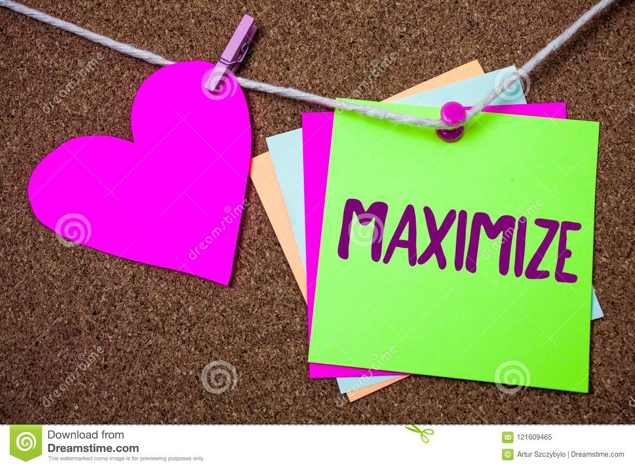 Word writing text Maximize. Business concept for Increase to the greatest possible amount or degree Make larger Heart thread stick