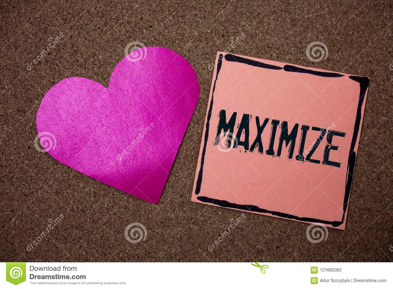 Word writing text Maximize. Business concept for Increase to the greatest possible amount or degree Make larger Love heart sticky