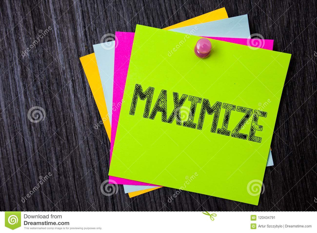 Word writing text Maximize. Business concept for Increase to the greatest possible amount or degree Make larger Multiple sticky ca