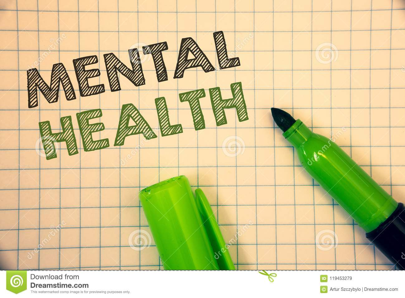Word writing text Mental Health. Business concept for Psychological and Emotional Condition Wellbeing of a person
