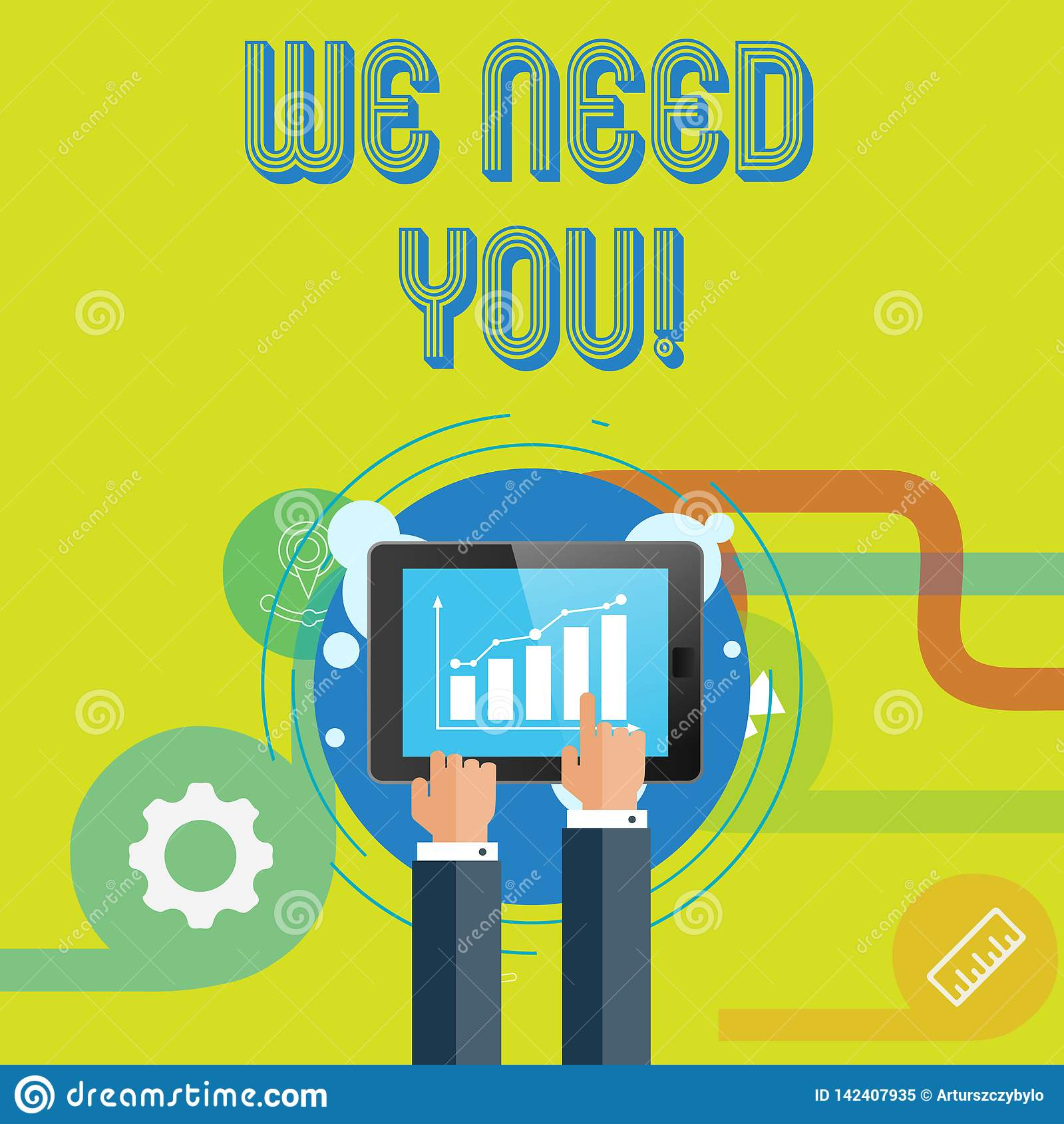Word writing text We Need You. Business concept for asking someone to work together for certain job or target