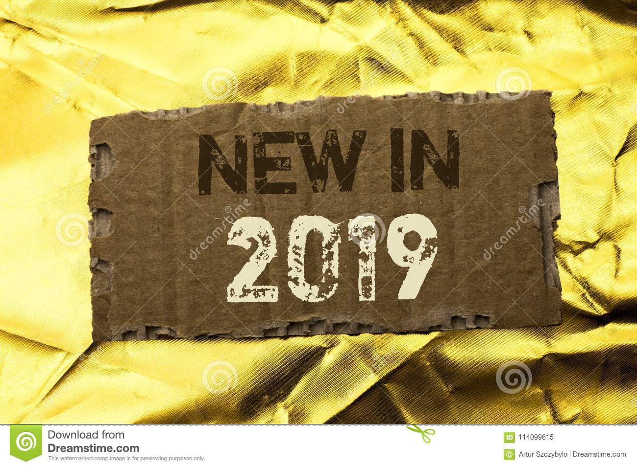Word writing text New In 2019. Business concept for Fresh Era Latest Year Period Season Annual Coming Modern written on tear Cardb