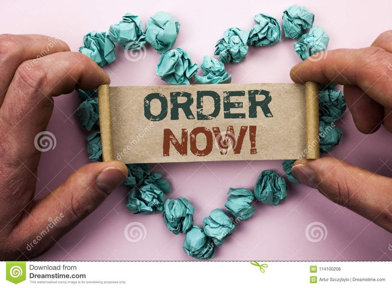 Word writing text Order Now. Business concept for Buy Purchase Order Deal Sale Promotion Shop Product Register written on Cardboar