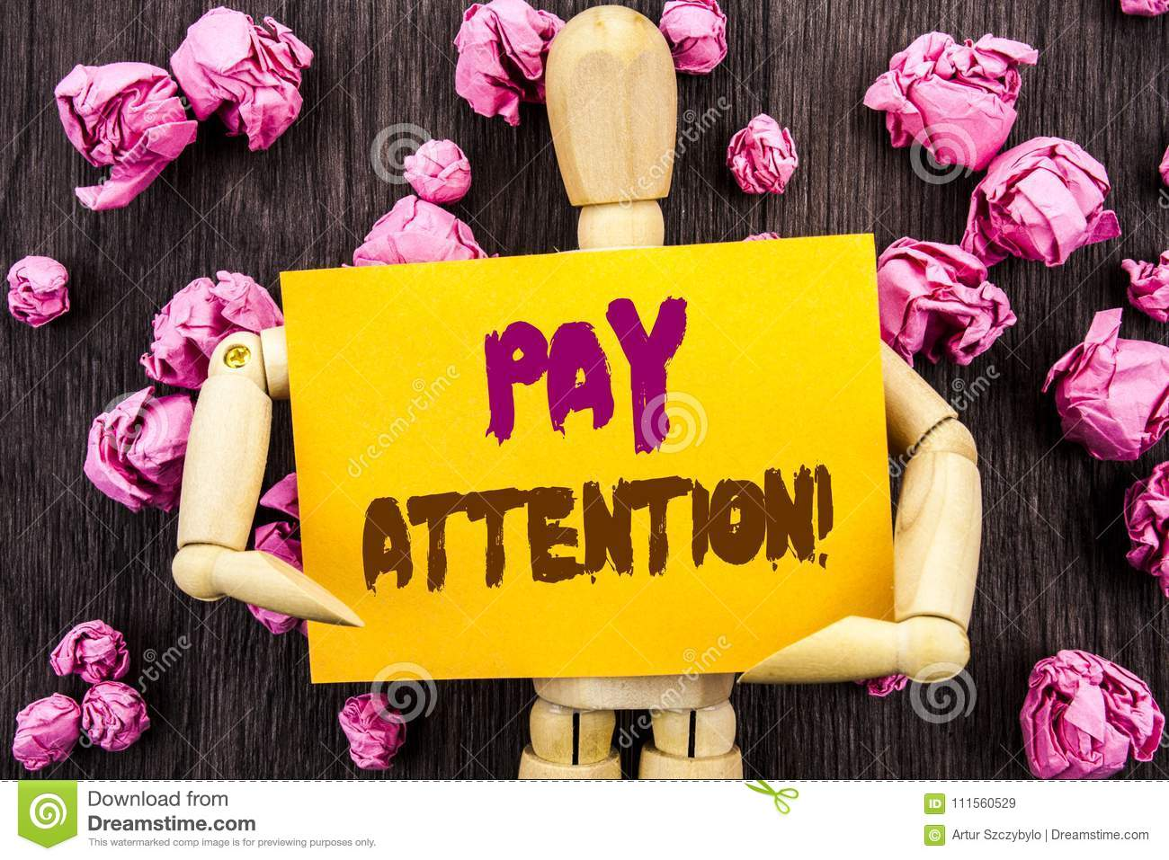 Word, writing, text Pay Attention. Conceptual photo Be Careful Beware Mindful Alarm written on Sticky Note Holding By Sculpture o