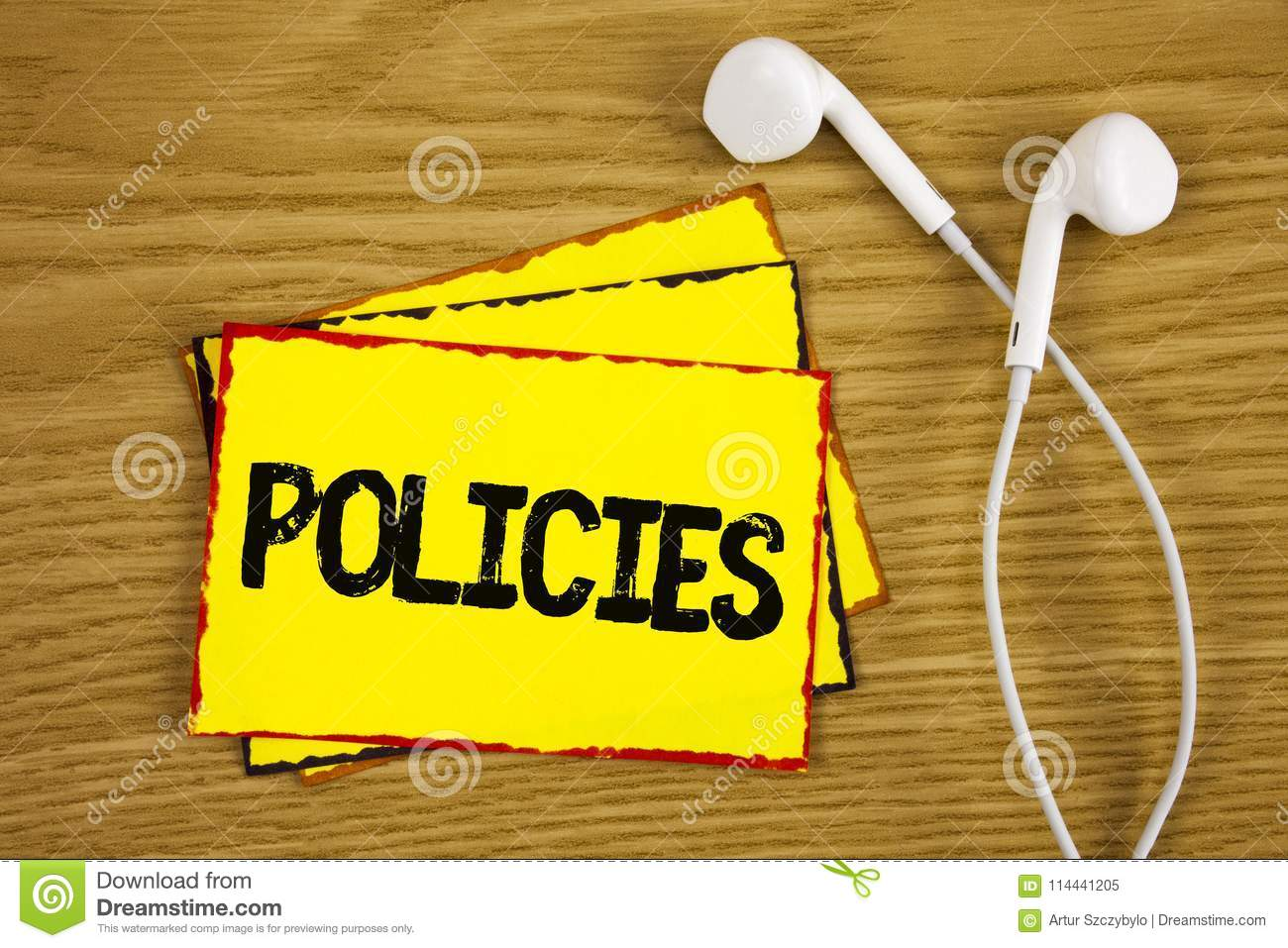 Word Writing Text Policies  Business Concept For Business