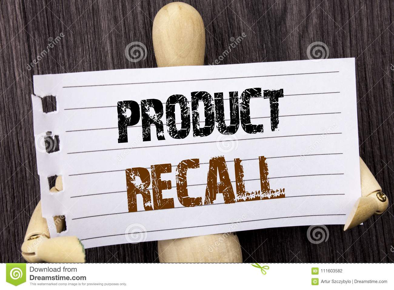 Word, writing, text product recall. Conceptual photo recall refund.