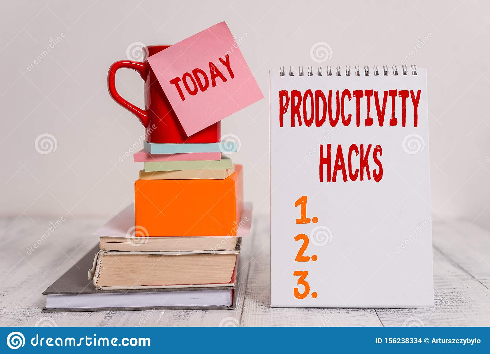 Word writing text Productivity Hacks. Business concept for tricks that you get more done in the same amount of time Cup