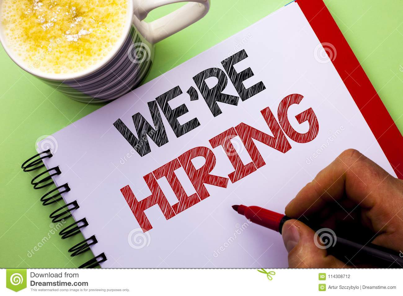 Word writing text We re Hiring. Business concept for Recruiting Hiring Now Recruitment Vacancy Announced Hire written by Man on N