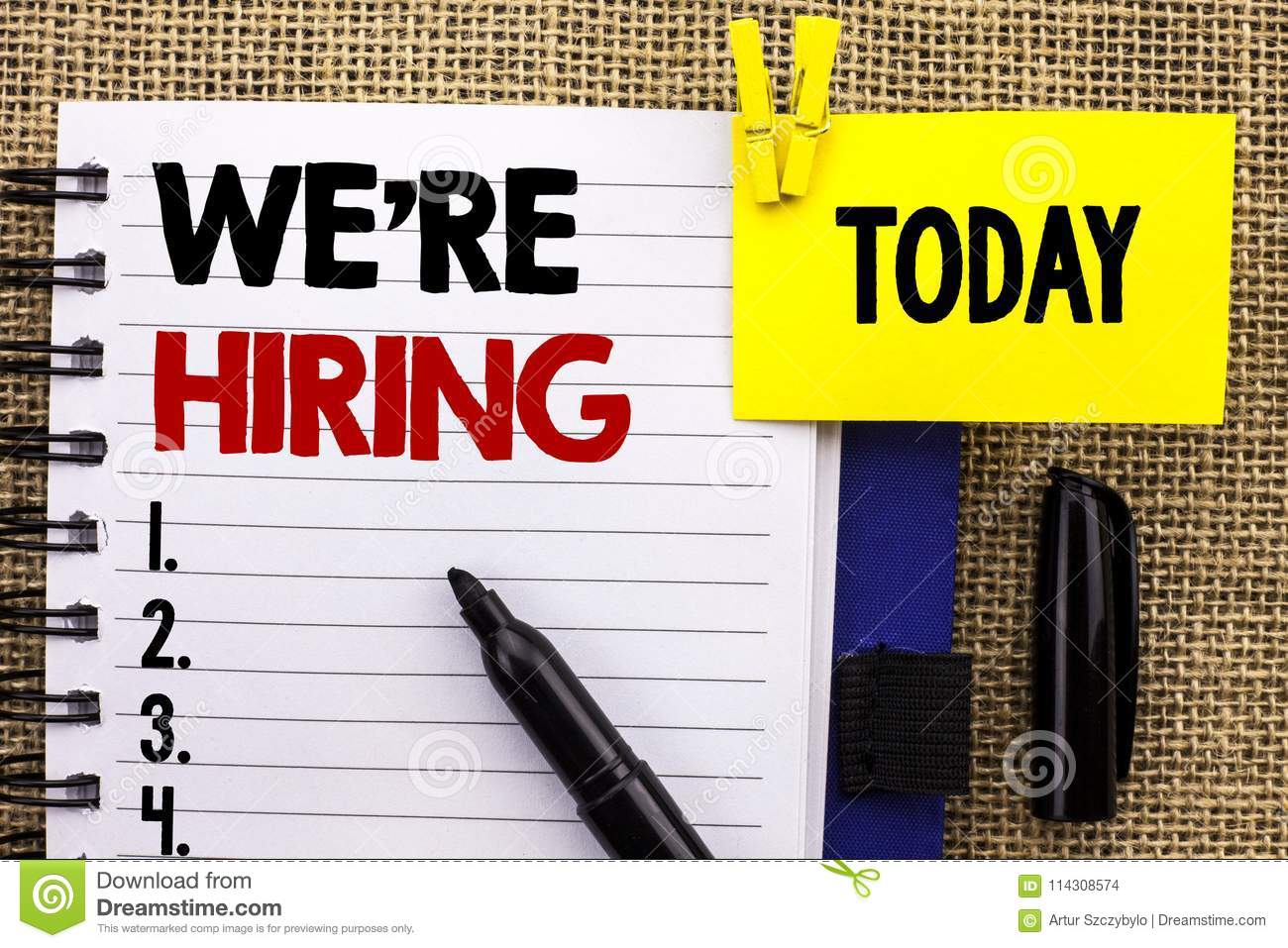 Word writing text We`re Hiring. Business concept for Recruiting Hiring Now Recruitment Vacancy Announced Hire written on Notebook