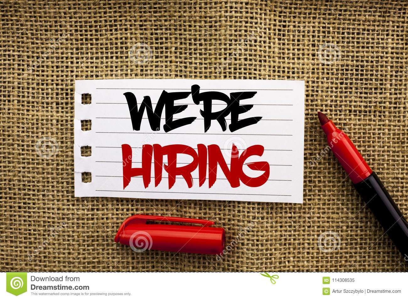 Word writing text Were Hiring. Business concept for Recruiting Hiring Now Recruitment Vacancy Announced Hire written on Notebook