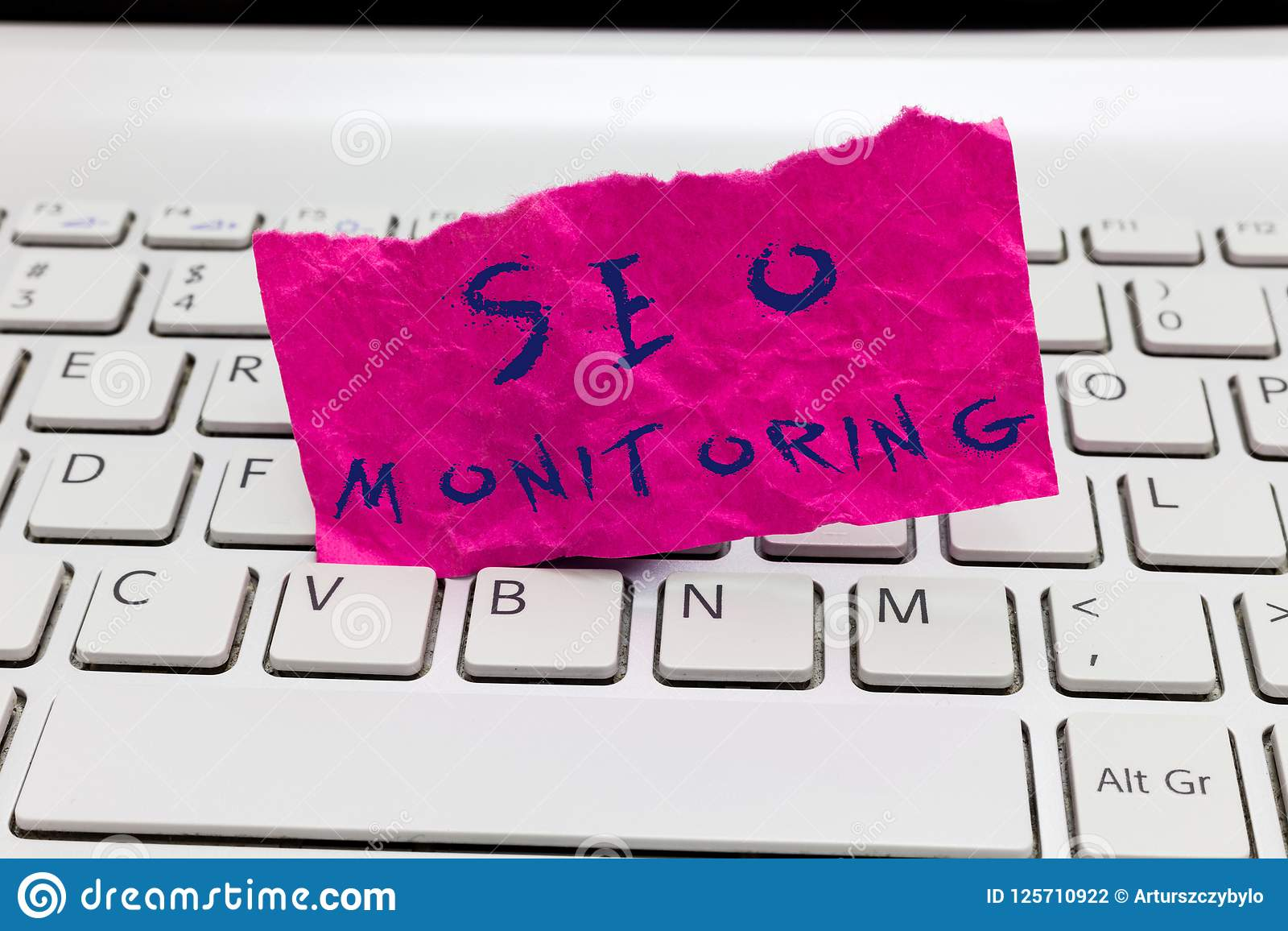 Word writing text Seo Monitoring. Business concept for Tracking the progress of strategy made in the platform