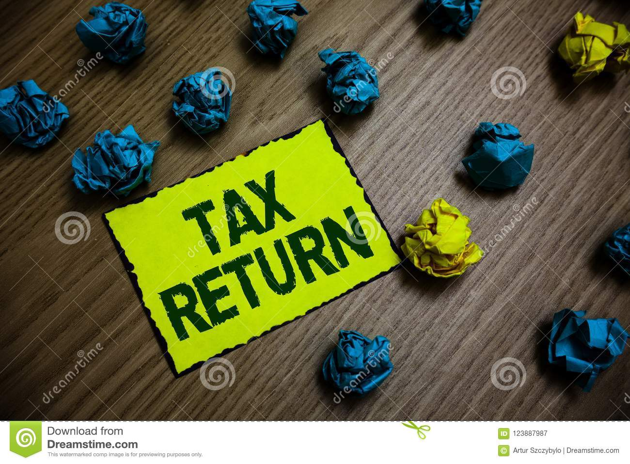 Word writing text Tax Return. Business concept for which taxpayer makes annual statement of income circumstances Yellow piece pape