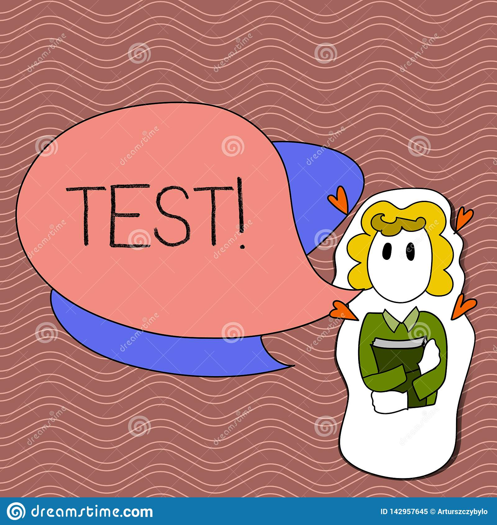 Word writing text Test. Business concept for Academic systemic procedure assess reliability durability proficiency Girl