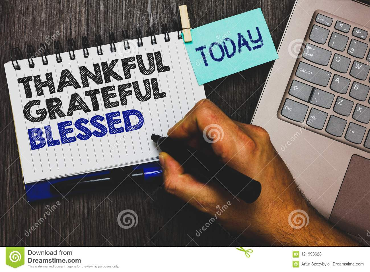 Word writing text Thankful Grateful Blessed. Business concept for Appreciation gratitude good mood attitude Paperclip grip sticky