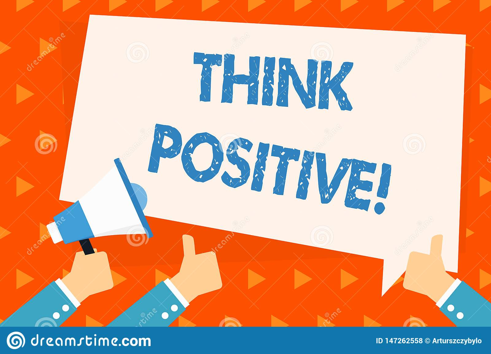Word writing text Think Positive. Business concept for to believe that you are going to be succeed in your goal Hand