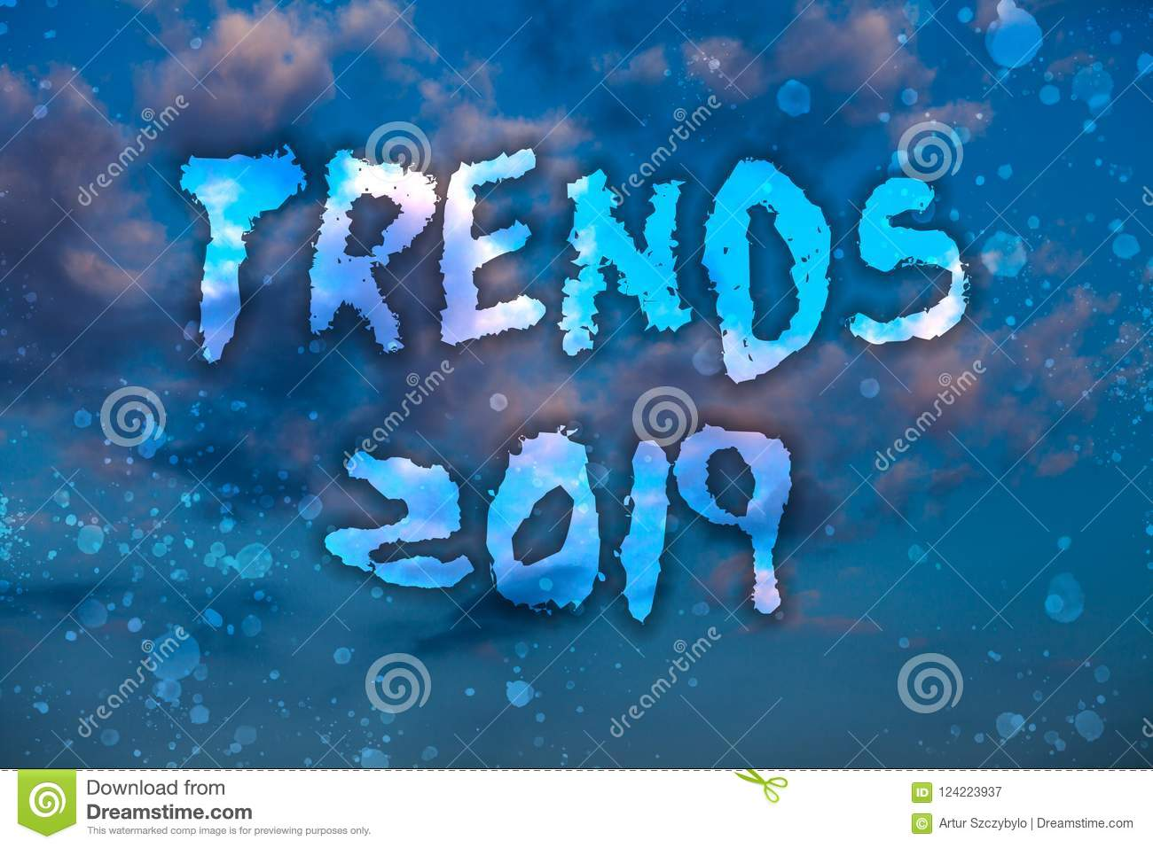 Word writing text Trends 2019. Business concept for Upcoming year prevailing tendency Widely Discussed Online Cloudy bright blue s