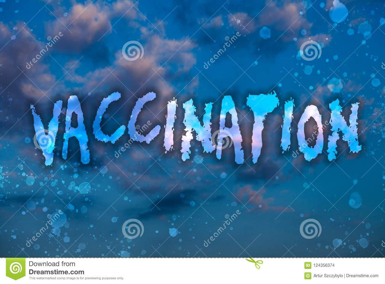 Word writing text Vaccination. Business concept for Treatment which makes the body stronger against infection Cloudy bright blue s
