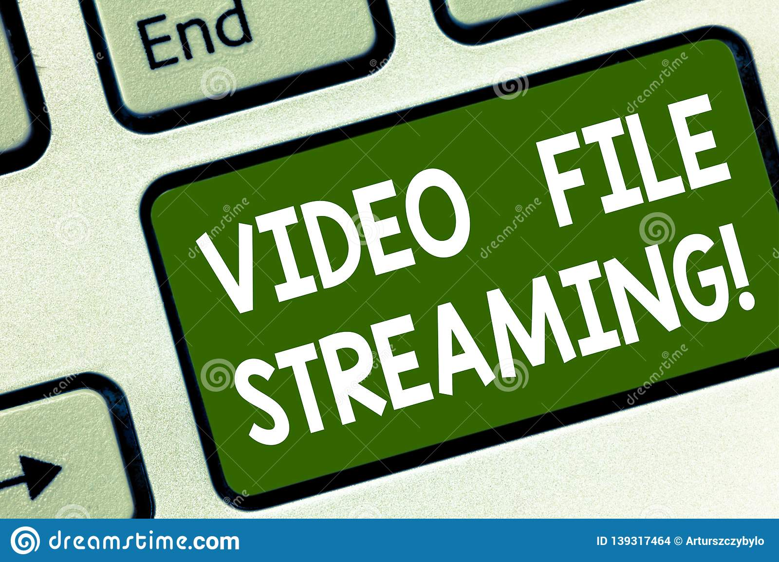Word writing text Video File Streaming. Business concept for video be viewed online without being downloaded Keyboard