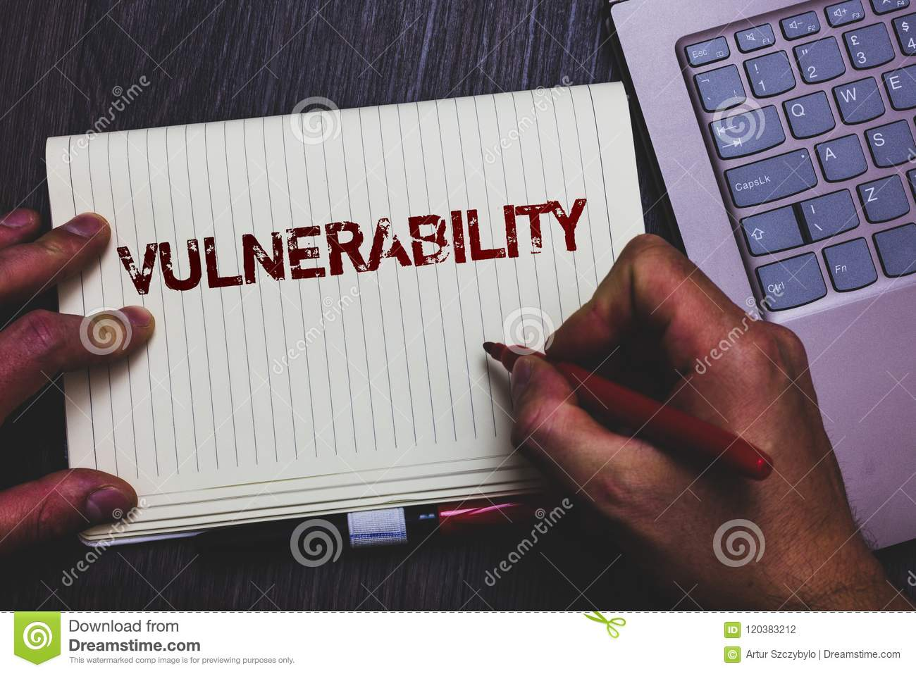 Word writing text Vulnerability. Business concept for Information susceptibility systems bug exploitation attacker Notepad marker
