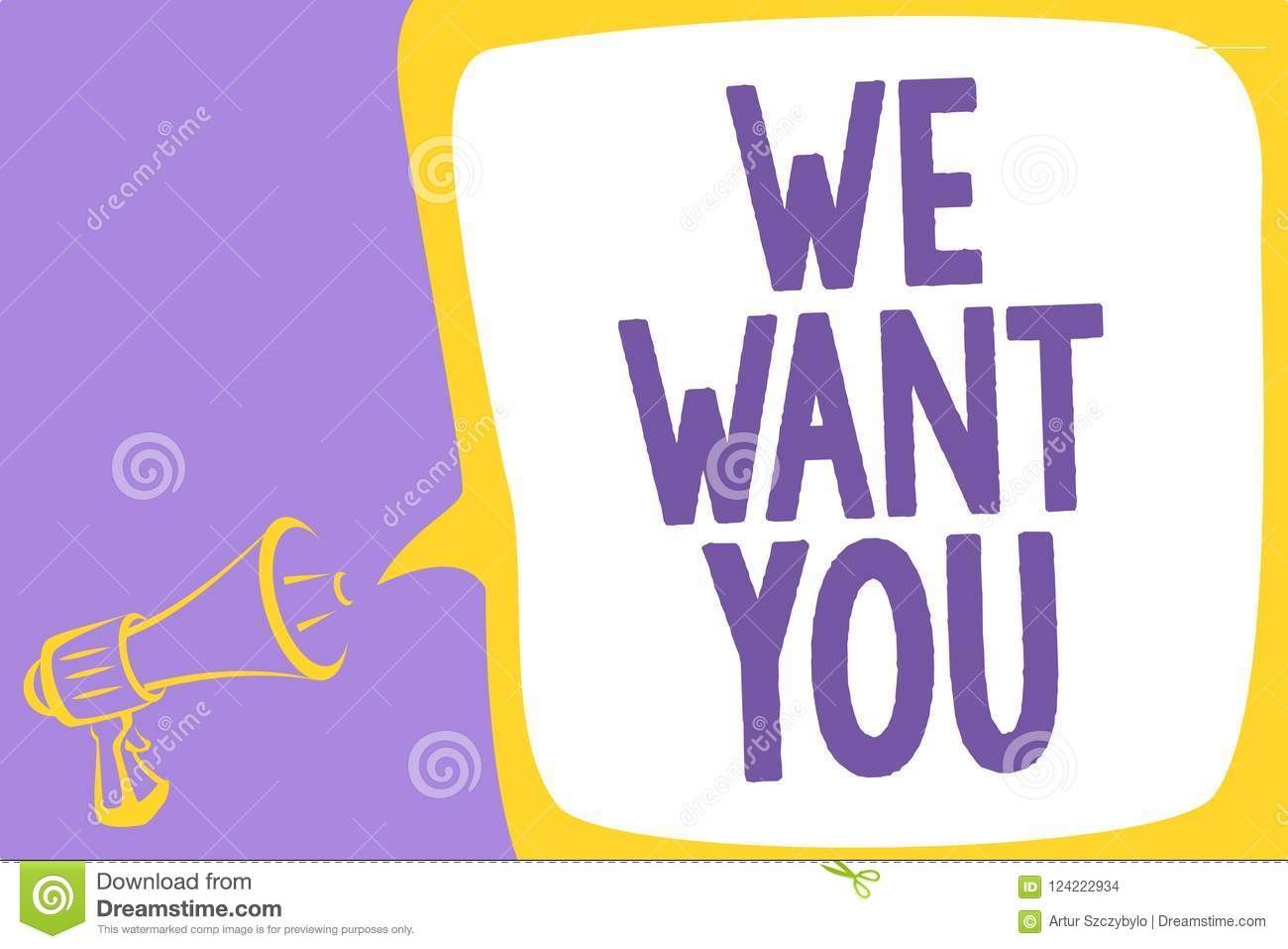 Word writing text We Want You. Business concept for Company wants to hire Vacancy Looking for talents Job employment Megaphone lou