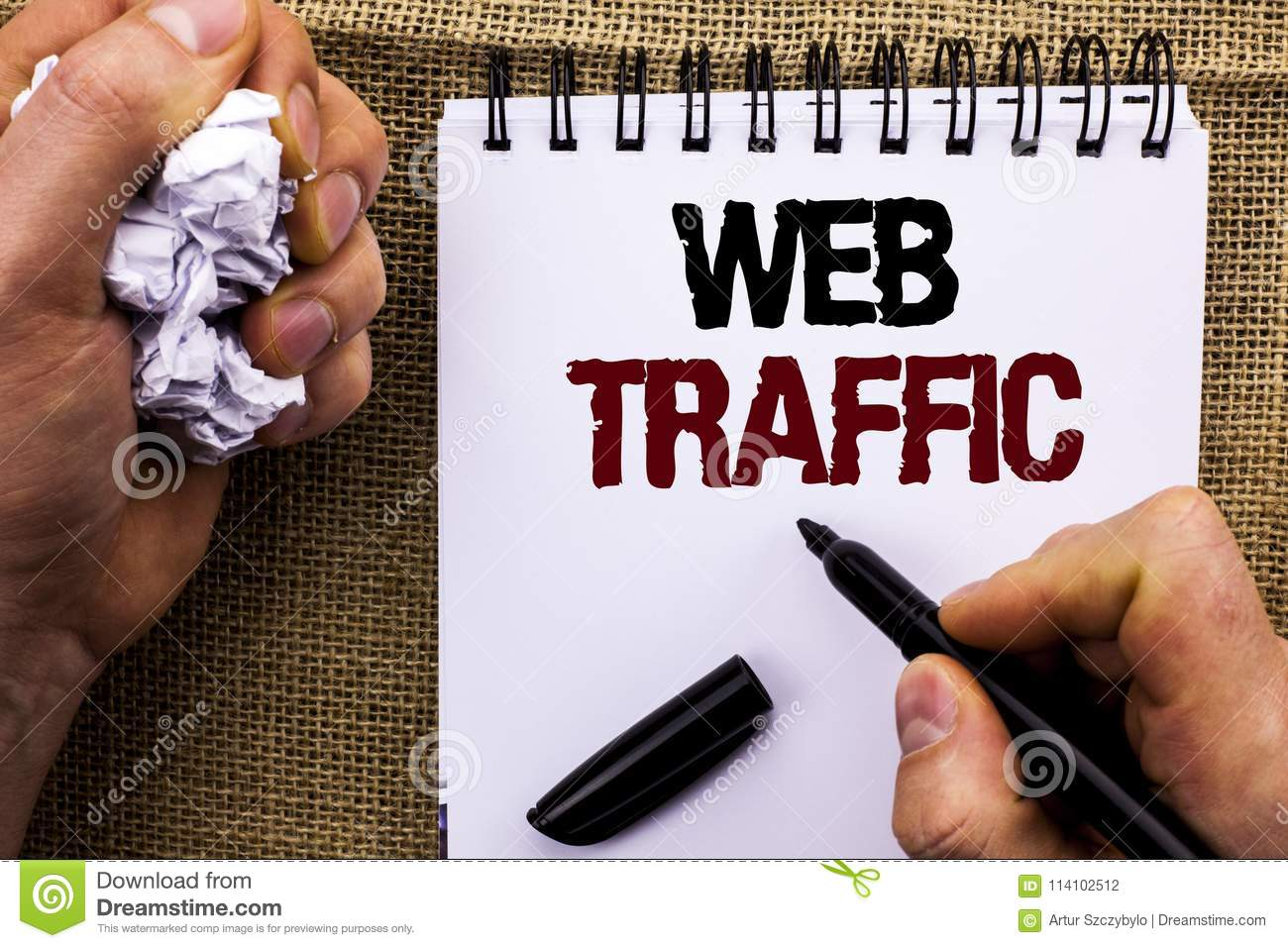 Word writing text Web Traffic. Business concept for Internet Boost Visitors Audience Visits Customers Viewers written by Man Holdi