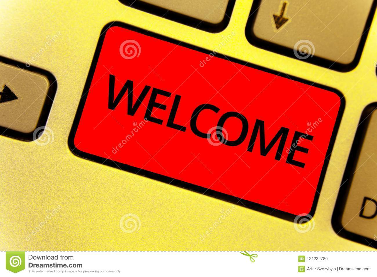 Word writing text Welcome. Business concept for Warm salutation acknowledgement for someone amiable loved thanked Keyboard key Int