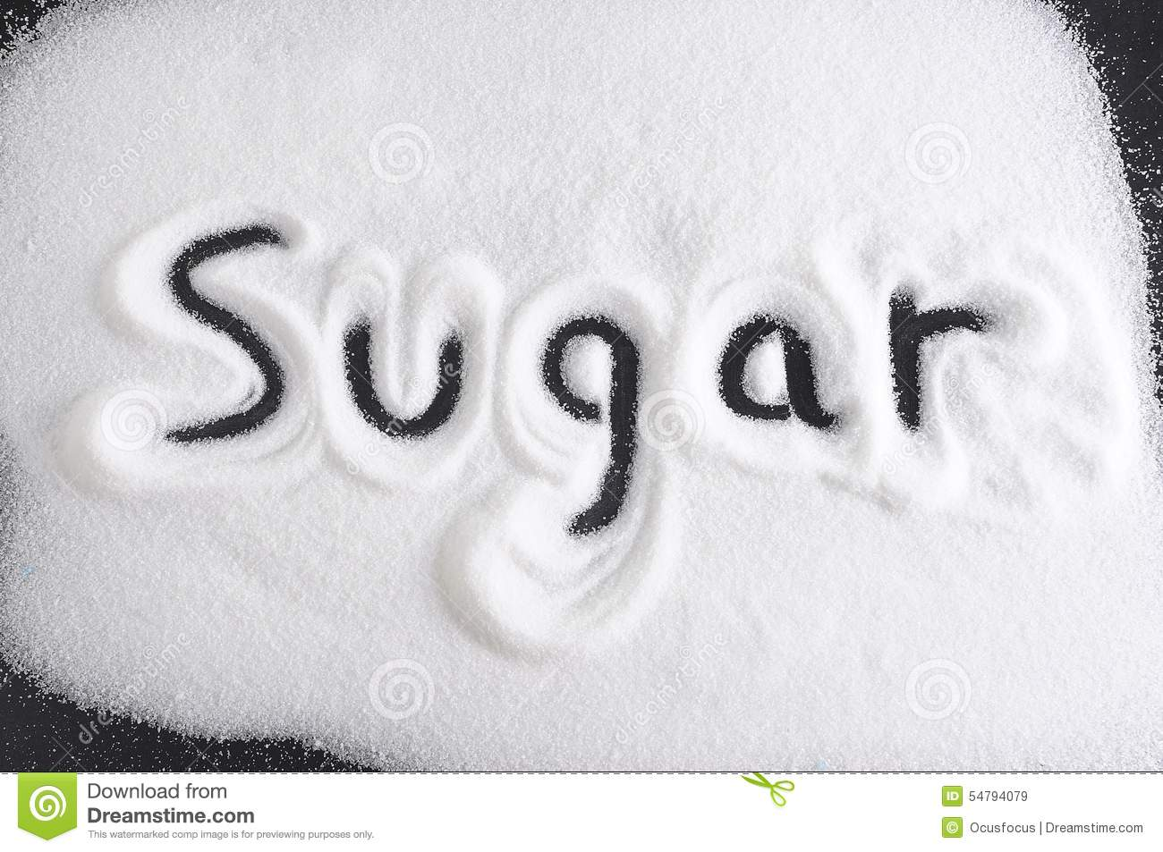 Word Written With Finger On Pile Of Sugar In Diet Sweet