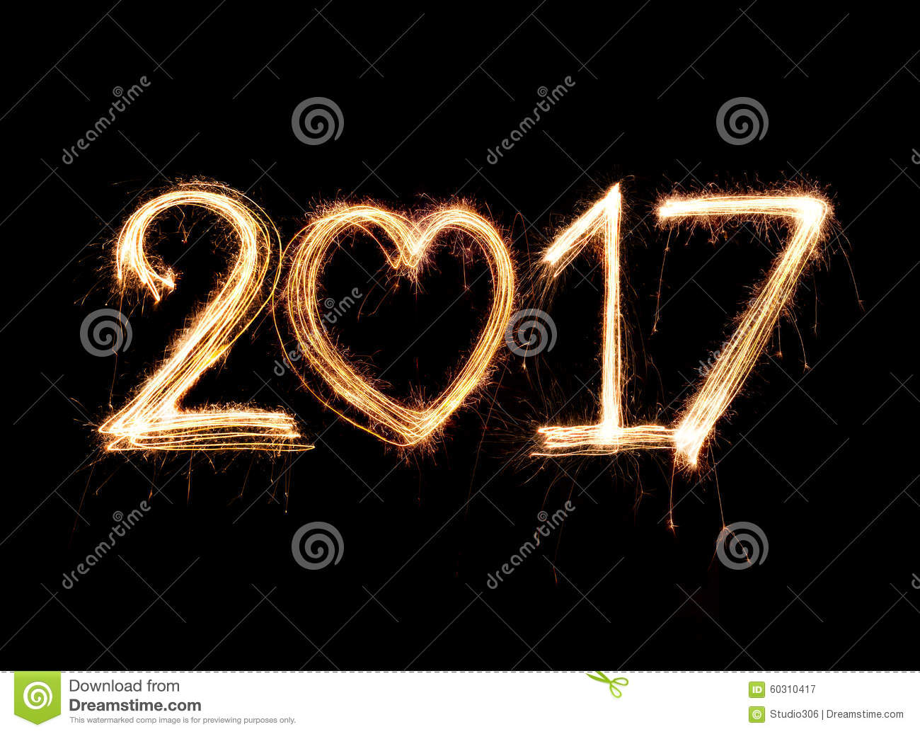2017 Word Written With Sparkle Firework Stock Photo - Image: 60310417