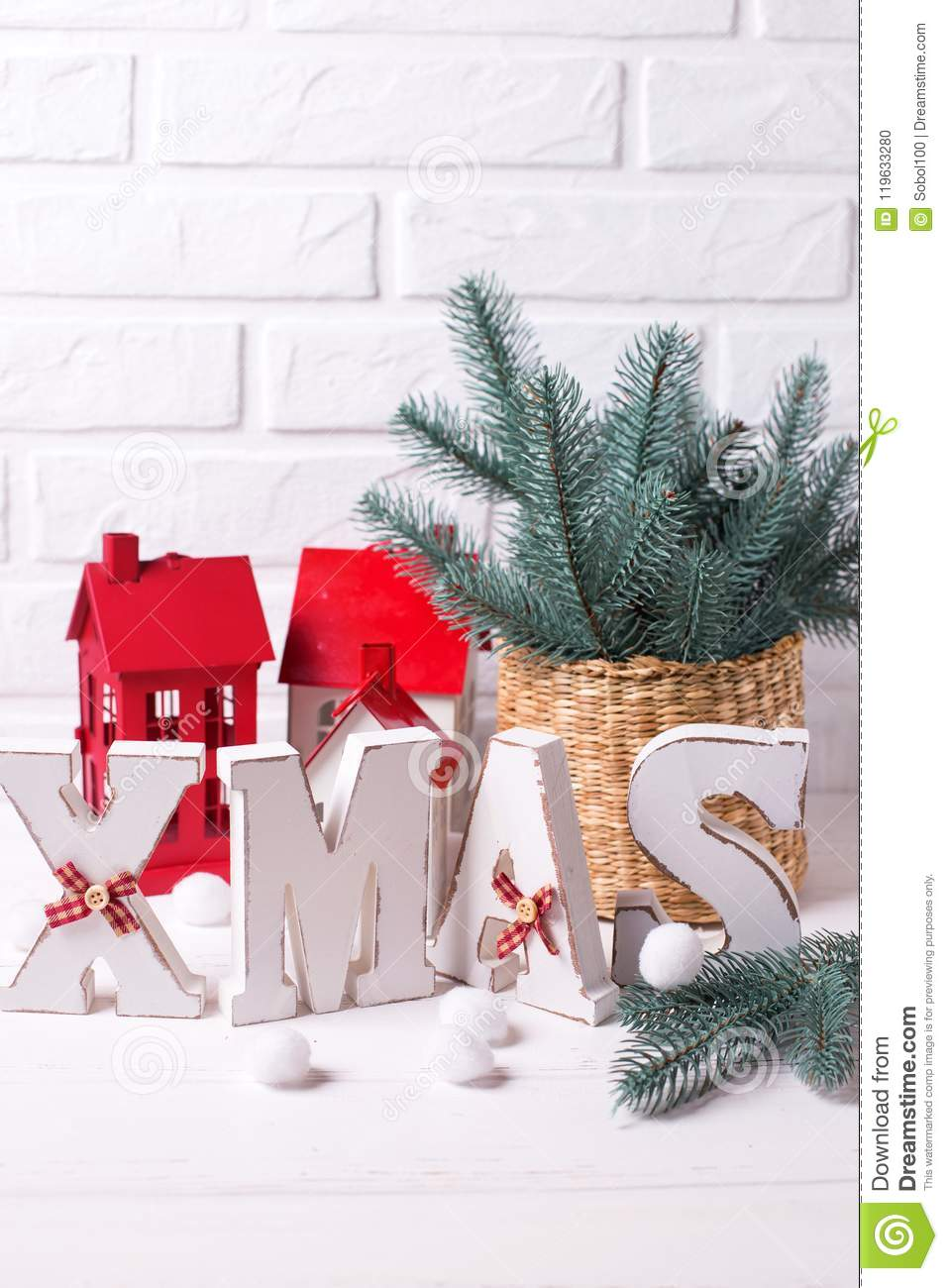 Word Xmas Made From Wooden Letters And Holiday Decorations On W