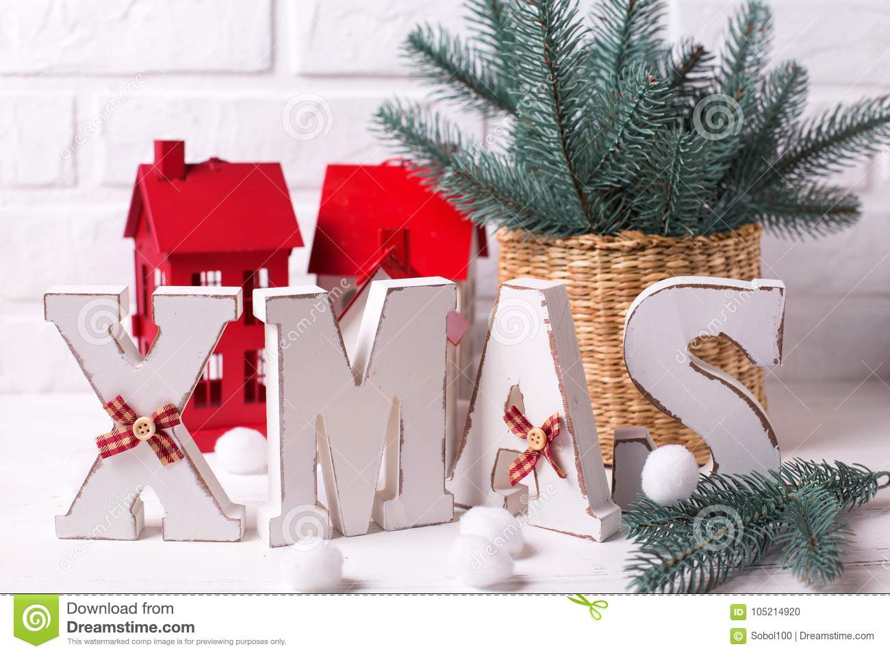 Word Xmas Made From Wooden Letters And Holiday Decorations Stock