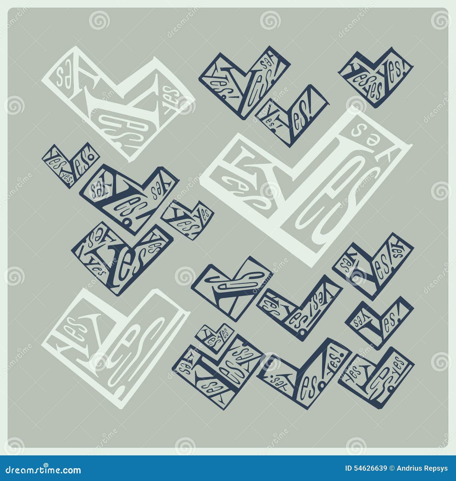 Word yes calligraphy stock illustration image
