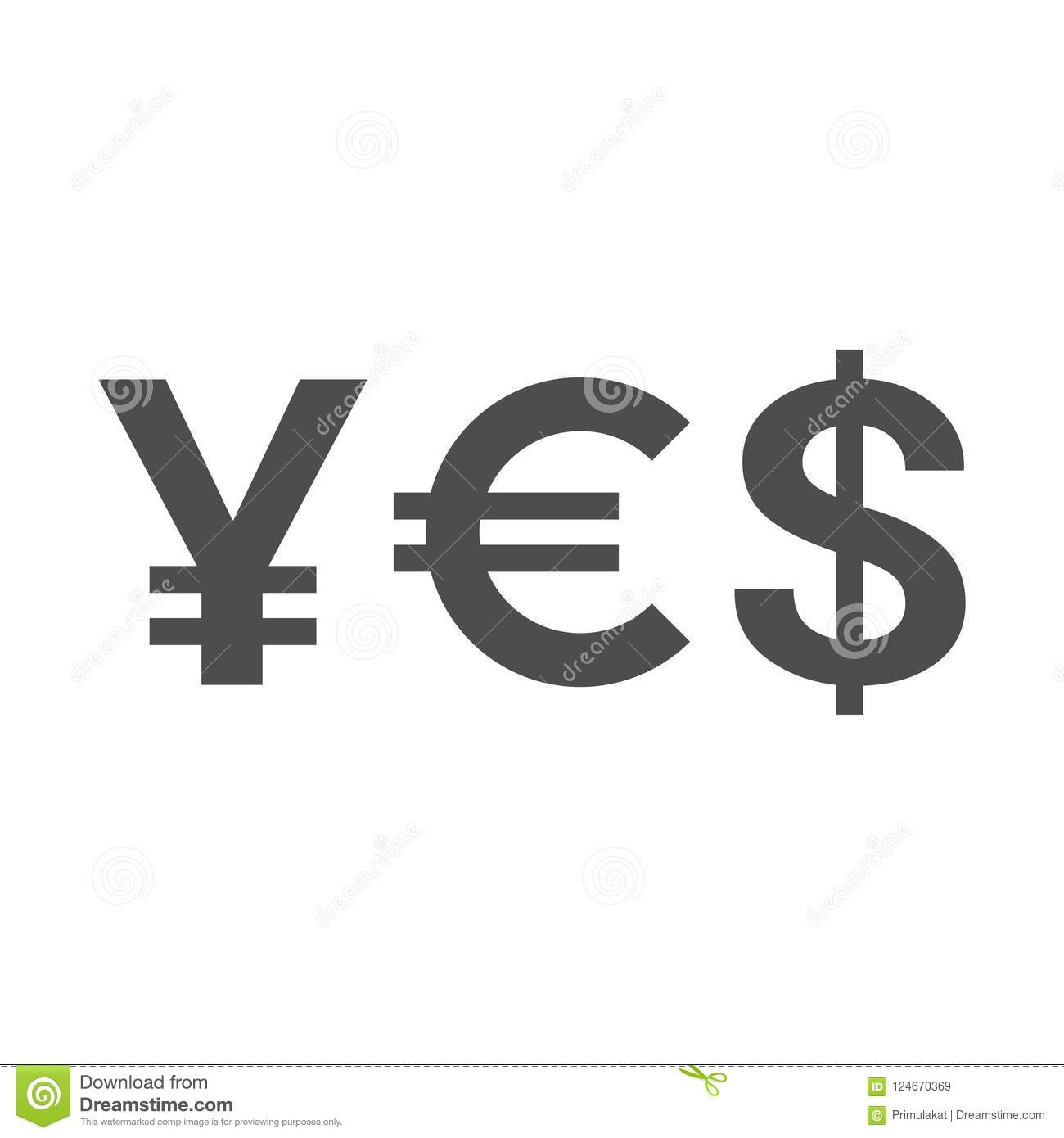 Word Yes Of Currency Symbols Yen Euro Dollar Stock Vector