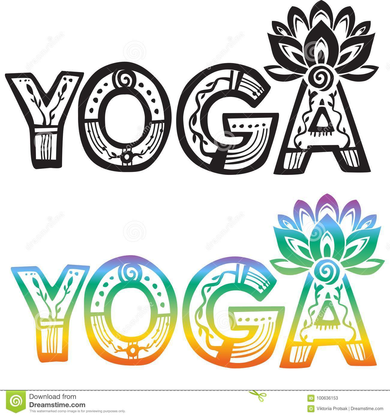 Word Yoga With Lotus Flower Stock Vector Illustration Of Yoga