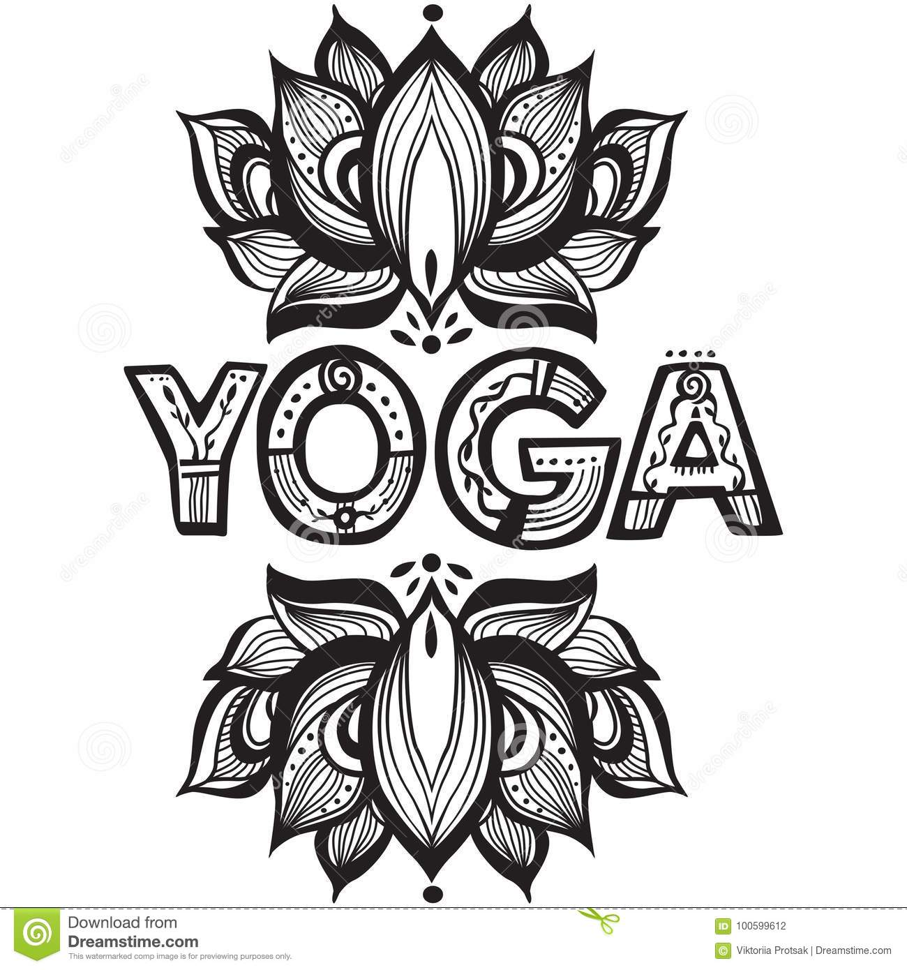 Word Yoga With Lotus Flower Silhouette Stock Vector Illustration