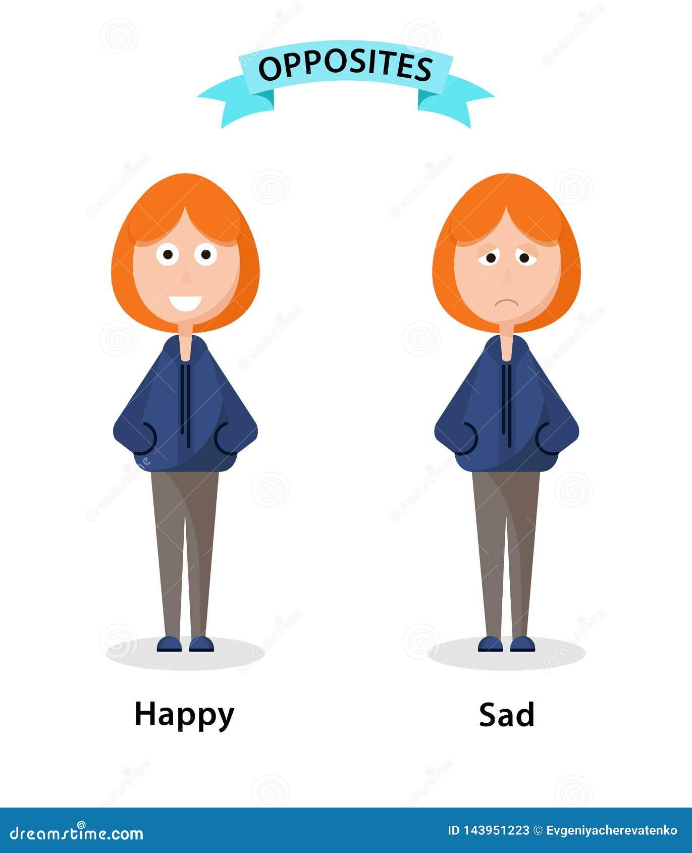Wordcard dla antonimów i przeciwieństw szczęśliwych i smutnych Postacie z kresk?wki ilustracyjne na bia?ym tle Karta dla
