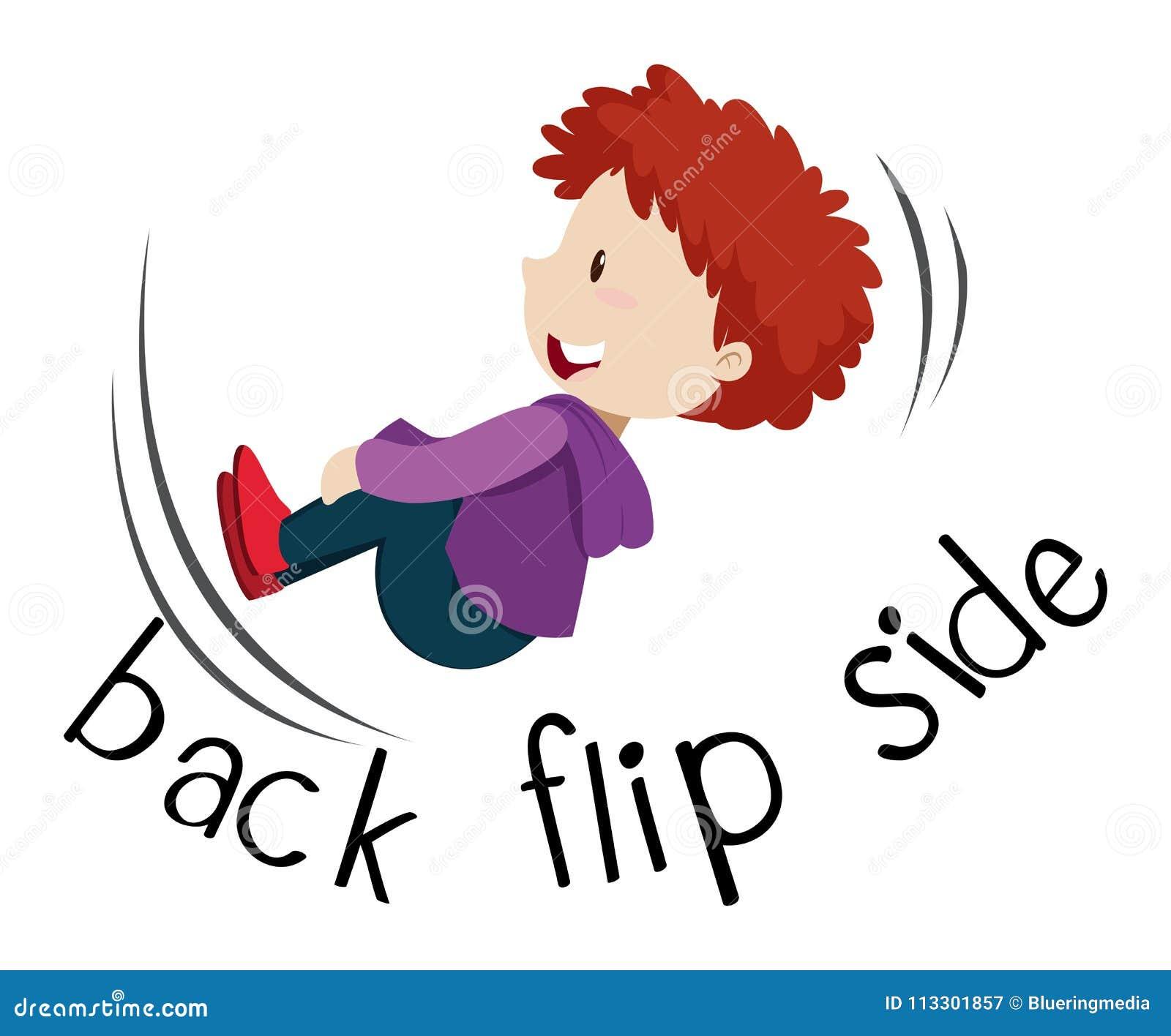 Wordcard för sida för tillbaka flip med pojkebläddring