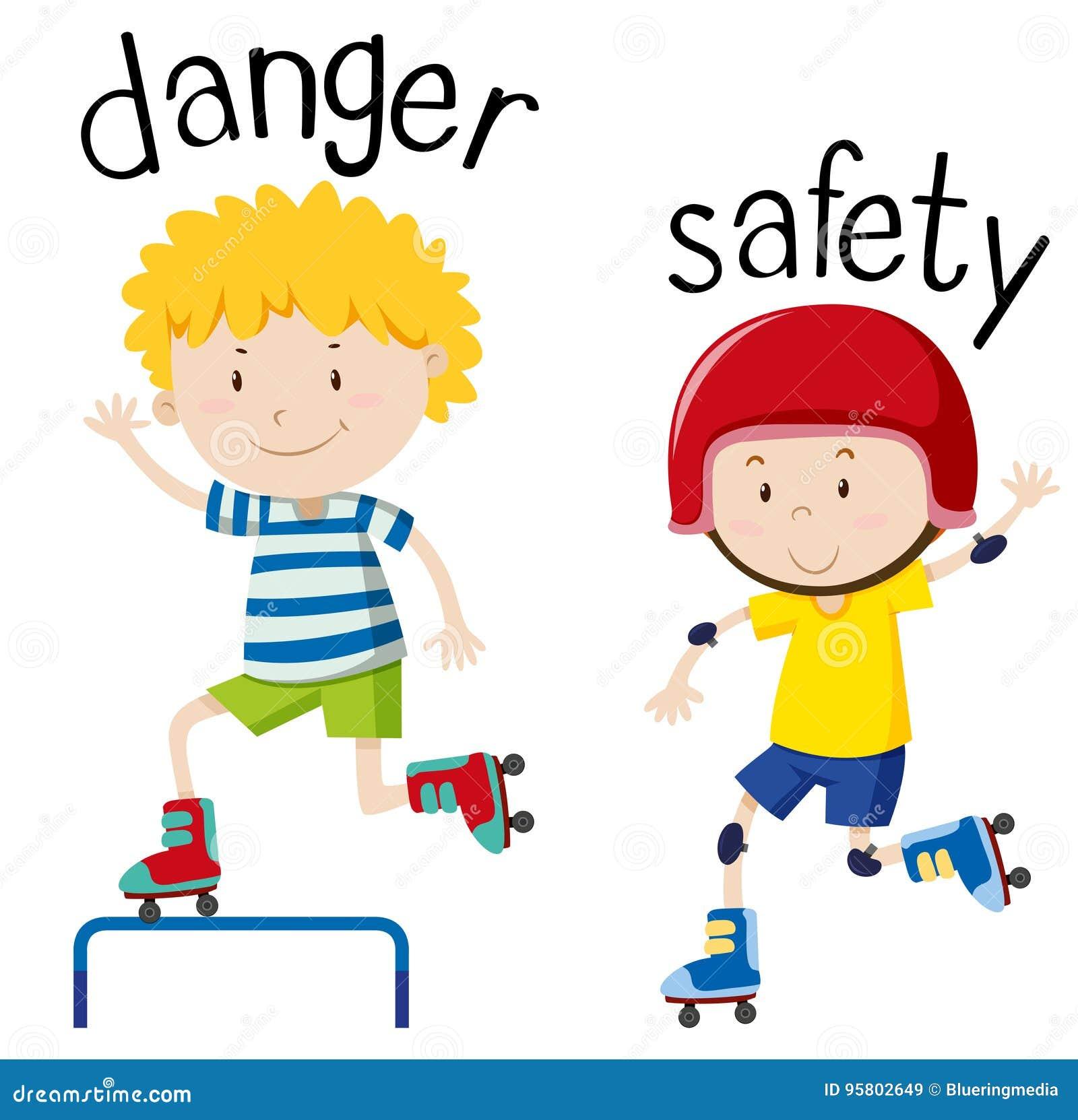 Wordcard opposé pour le danger et la sécurité